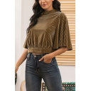 Stylish Girls Solid Color Short Sleeve Mock Neck Pleated Relaxed Fit Crop T Shirt