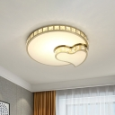 Round and Heart Crystal Flush Light Fixture Simplicity LED Gold Close to Ceiling Lamp for Bedroom