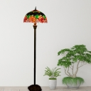 Green Stained Glass Reading Floor Light Bowl 2 Bulbs Mediterranean Floor Standing Lamp with Flower Pattern