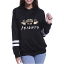 Preppy Girls Long Sleeve Drawstring Letter FRIENDS Coffee Graphic Varsity Stripe Relaxed Hoodie
