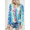 Trendy Womens All over Printed Twist Hem Keyhole Neckline Long Sleeve Relaxed Tee Top