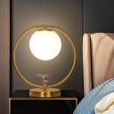 Cream Glass Sphere Night Table Lighting Modern 1 Light Gold Nightstand Lamp for Bedroom