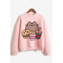 Lovely Fat Cat Printed Long Sleeve Mock Neck Pink Pullover Sweatshirt