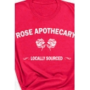 Leisure Red Roll Up Sleeve Crew Neck Letter ROSE APOTHECARY Floral Embroidered Relaxed Fit Tee Top for Women