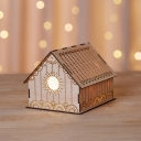 Small Wood Low House Nightstand Light Kids Brown LED Table Lamp with Etched Flower/Loving Heart/Star Pattern