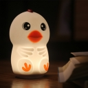 Cute Chick Clasp Sensing Table Light Cartoon Rubber Baby Room Touch LED Nightstand Light in White