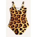 Casual 3D Bodysuits Animal Leopard Pattern Sleeveless Scoop Neck Skinny Fit Bodysuits for Women