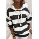 Fashionable Striped Print Drawstring Long Sleeve Loose Fit Hooded Sweatshirt