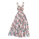 Gorgeous Womens Flower Allover Print Crisscross Backless Waisted Straps Sleeveless Long Sundress
