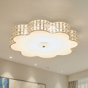Bedroom LED Flush Mount Modern Gold Ceiling Light Fixture with Flower Cut Crystal Shade