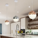 Global Pendulum Light Modernity Metallic 1 Light Dining Room Suspension Lamp in Chrome/Gold