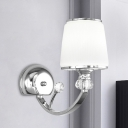 Chrome Curved Arm Wall Light Modern 1 Head Metal Wall Mounted Lamp with Cone Milk Glass Shade