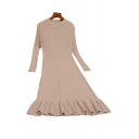 Pretty Girls Solid Color Ribbed Knitted Ruffle Trim Long Sleeve Round Neck Midi Sweater Dress