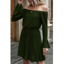 Fashionable Ladies Solid Color Bell Long Sleeve Off the Shoulder Drawstring Waist Ruffled Hem Short A-line Pleated Dress