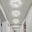 Modernism Lotus Flush Mount Hand-Cut Crystal LED Hallway Ceiling Lighting in Chrome, Warm/White Light
