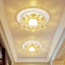 Cut Crystal Blossom Flush Mount Simple LED White Ceiling Lamp with Round/Square Canopy in Warm/White Light