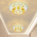 Contemporary Round Flush Light Gold Crystal Block LED Corridor Ceiling Mounted Fixture