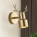 Cylinder Metallic Wall Lamp Nordic LED Gold Wall Mounted Lighting with Antler Design