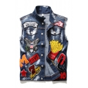 Hip Hop Style Embroidered Skull Pattern LIVE TO RIDE Printed Back Single Breasted Blue Denim Vest Coat