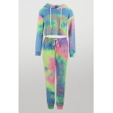 Blue Trendy Womens Tie Dye Print Drawstring Hooded Long Sleeve Regular Crop Hoodie & Elastic Waisted Ankle Tapered Pants Set