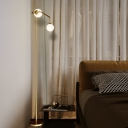 2 Heads Great Room Floor Lamp Modernist Brass Stand Up Light with Spherical Opal Glass Shade