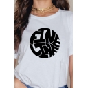 Basic Womens T-Shirt Circular Letter Fine Line Printed Crew Neck Short Sleeve Regular Fitted T-Shirt