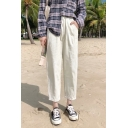 Elegant Pants Solid Color Pleated High Rise Elastic Full Length Tapered Pants for Women