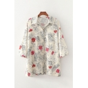 White Stylish All over Floral Leaf Printed Single Breasted Turn-down Collar 3/4 Sleeve Plus Size Shirt for Women