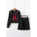 Preppy Chic Navy Collar Bowtie Front Long Sleeve Top with Mini Pleated Skirt Two Piece Sailor Suit