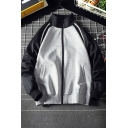 Novelty Mens Jacket Color Block Zipper up Cuffed Long Sleeve High Neck Relaxed Fit Casual Jacket