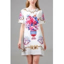 Unique Ladies Floral Printed Crew Neck Short Sleeve Mini Swing T Shirt Dress in White