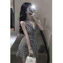 Womens Vintage Plaid Pattern Notched Lapel Collar Sleeveless Button Down Mini A-Line Dress