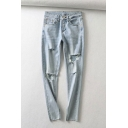 Classic Womens Jeans Light Wash Distressed Stretch Zipper Fly Slim Fit 7/8 Length Tapered Jeans