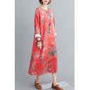 Vintage Womens Tie Dye Chinese Style Flower Print Tie Waist Button Detail Notched Collar Long Sleeve Oversize Midi Cheongsam Dress