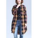 Fashion Womens Checkered Printed Long Sleeve Spread Collar Chest Pocket Button Up Long Loose Shirt Top