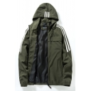 Cool Mens Jacket Three-Lines Side Stripe Cuffed Zipper up Long Sleeve Regular Fit Hooded Casual Jacket