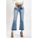 Womens Jeans Blue Fashionable Medium Wash Frayed Cuffs Zipper Fly Ankle Length Regular Fit Flare Jeans