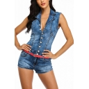 Basic Womens Blue Rompers Single-Breasted Sleeveless Notch Collar Slim Fitted Denim Rompers with Washing Effect