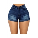 Basic Womens Blue Shorts Medium Wash Roll-up Stretch Mid Waist Slim Fitted Denim Shorts