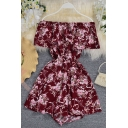 Womens Rompers Unique Flower Pattern Elastic Waist Ruffle Trim off Shoulder A-Line Regular Fitted Rompers