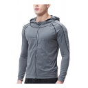Classic Mens Jacket Space Dye Topstitching Quick-Dry Zipper down Long Sleeve Skinny Fitted Hooded Casual Jacket