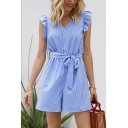 Cool Womens Rompers Pinstriped Printed Bow Waist V Neck Front Button Detail Cap Butterfly Sleeve Loose Fitted Blue Rompers