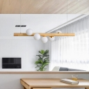 Beige Linear Hanging Light Fixture Nordic 5 Heads Wood Island Pendant with Ball Ivory Glass Shade