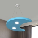 Sun/Star/Moon Chandelier Lamp Cartoon Style Metallic Playing Room LED Hanging Light Kit in Yellow/Orange/Blue