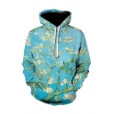 Trendy Plum Blossom Oil Painting Long Sleeve Light Blue Drawstring Hoodie