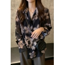 Fancy Ladies All Over Flower Printed Long Sleeve Turn Down Collar Button Up Semi-sheer Loose Shirt in Black