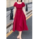 Vintage Girls Plain Puff Sleeve Stringy Selvedge Square Neck Lace Up Mid Pleated A-line Dress