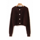 Stylish Womens Solid Color Button Closure Collarless Long Sleeve Regular Fit Crop Mohair Cardigan Sweater
