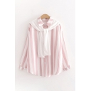 Trendy Womens Striped Printed Cape Button Up Turn-down Collar Long Sleeve Loose Fit Shirt