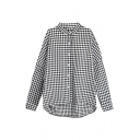 Girls Novelty Checkered Printed Long Sleeve Collarless Button Up High Low Hem Loose Fit Shirt Top in Black
